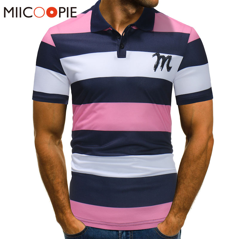 Summer Men Pink Polo Shirt Men Business & Casual Stripe Male Polo Shirt Short Sleeve Breathable Polo Shirt Brand Clothing XXXL