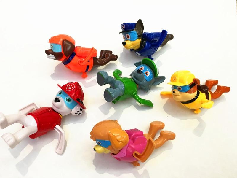 ФОТО SHINEHENG New Arrival 6pcs/set Puppy Dog Patrol Clockwork Swimming Toy Patrulla Canina Juguetes Action Figure Dolls