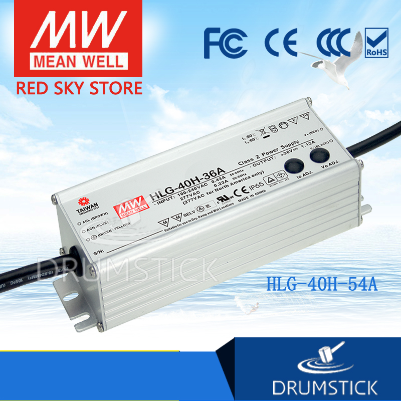 цена на Genuine MEAN WELL HLG-40H-54A 54V 0.75A meanwell HLG-40H 54V 40.5W Single Output LED Driver Power Supply A type