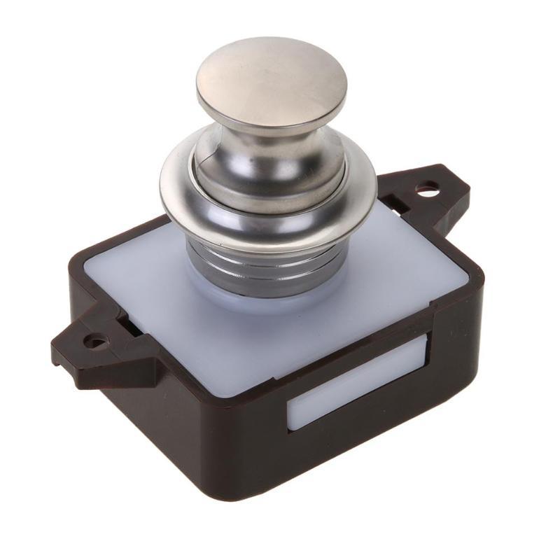 Drawer Push Lock Button Catch Lock Cupboard Door Knob Camper Caravan RV Cabinet