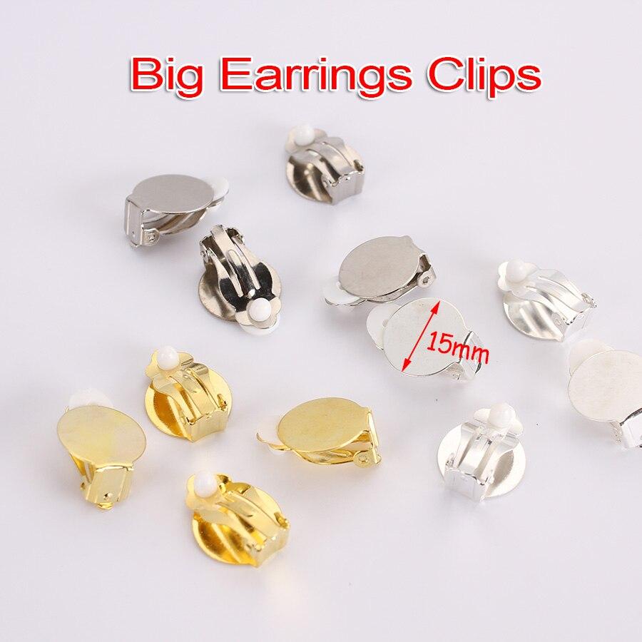 12Pcs Women Round Blank Pad DIY Clip on Earrings Findings Glue on Settings