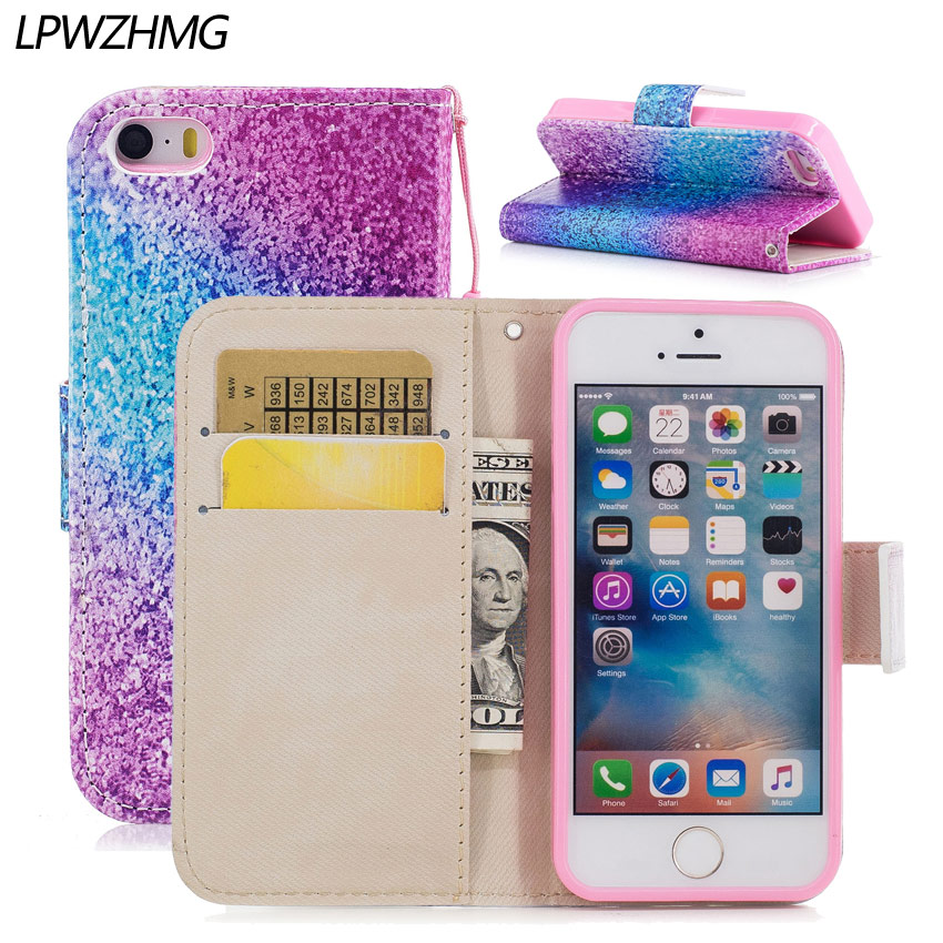 LPWZHMG PU Leather Wallet Flip Case For iphone 5 5s se 6 6s 6plus 7 Soft TPU Back Cover Anti-knock Full Body Protect Phone Case