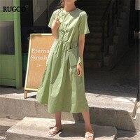 RUGOD 2019 korea summer female o neck solid Waist pack back single breasted loose veranos casual lady elegant women vestidos