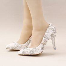 Gorgeous Design White Pearl Wedding Shoes Pointed Toe Bridal Dress Shoes Beautiful Women Prom Party Pumps with Rhinestone