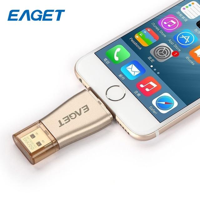 Eaget i50 MFi Certified USB 3.0 Pendrive OTG USB Flash Drive 32GB 64GB 128GB USB Stick 64g USB Pen Drives for iPhone iPad IOS