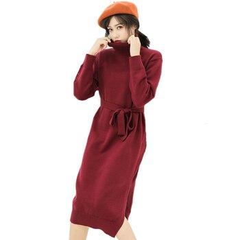 2018 Vintage koreański modna sukienka zimowa kobiety Lace-up wysokiej talii Plus Size sweter z golfem sukienka z długim rękawem sukienka z dzianiny