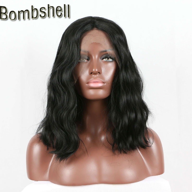 Synthetic Wigs Considerate Bombshell Heavy Density Black Short Wave Bob Synthetic Lace Front Wig High Temperature Heat Resistant Fiberfor Black Women 2019 Latest Style Online Sale 50%