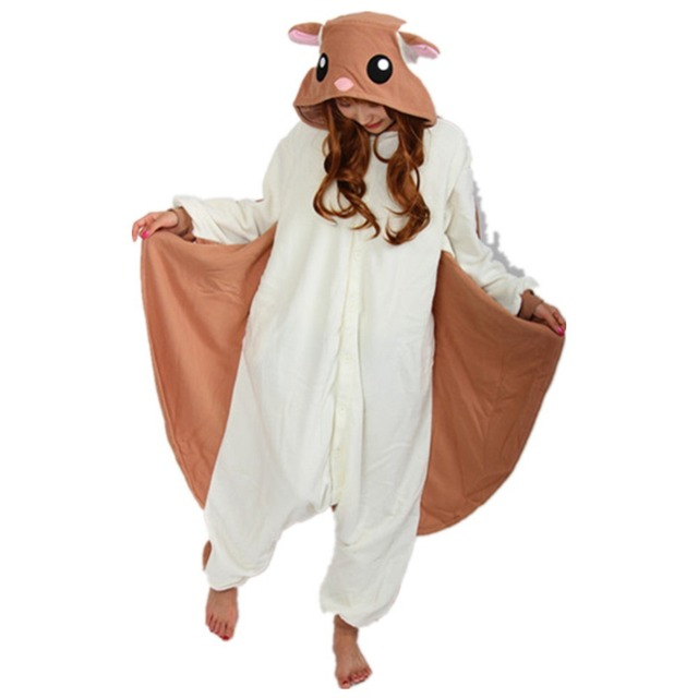 doubchow audlts womens halloween christmas brown flying squirrel animal costume pajamas teenagers girls boys onesies lounge