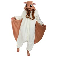 DOUBCHOW Audlts Womens Halloween Christmas Brown Flying Squirrel Animal Costume Pajamas Teenagers Girls Boys Onesies Lounge Wear