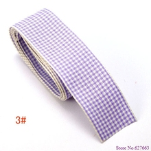 Free shipping 50Yards lot 1 25mm width purple styles polyester scottish tartan gingham ribbon bow decorative