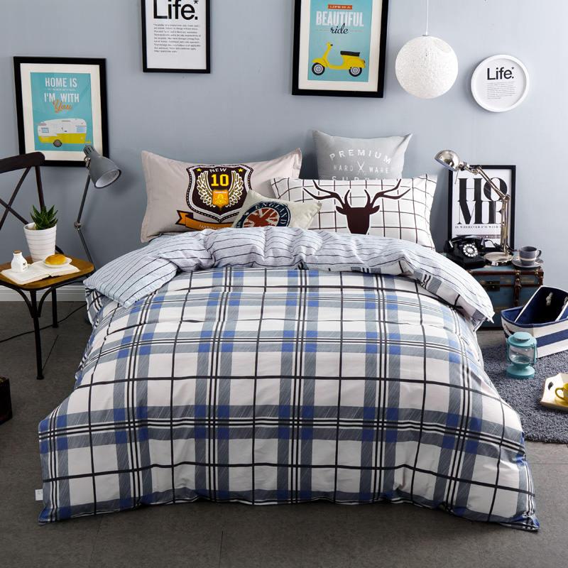 100% baumwolle Blau Grau Plaid Bettwäsche Streifen Bettlaken Sets Jungen/Erwachsene 4/5PC Quilt Abdeckung 400TC voll Königin Größen Deer Kissen Sham