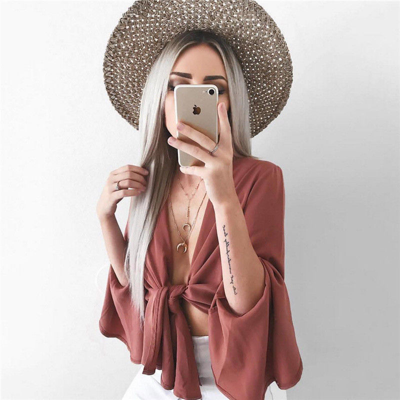 Women Blouses New Sexy Long Flare Sleeve Bandage Blouse Tops Sexy V Neck Blouses Shirts Solid Color Crop Tops Women's Clothes