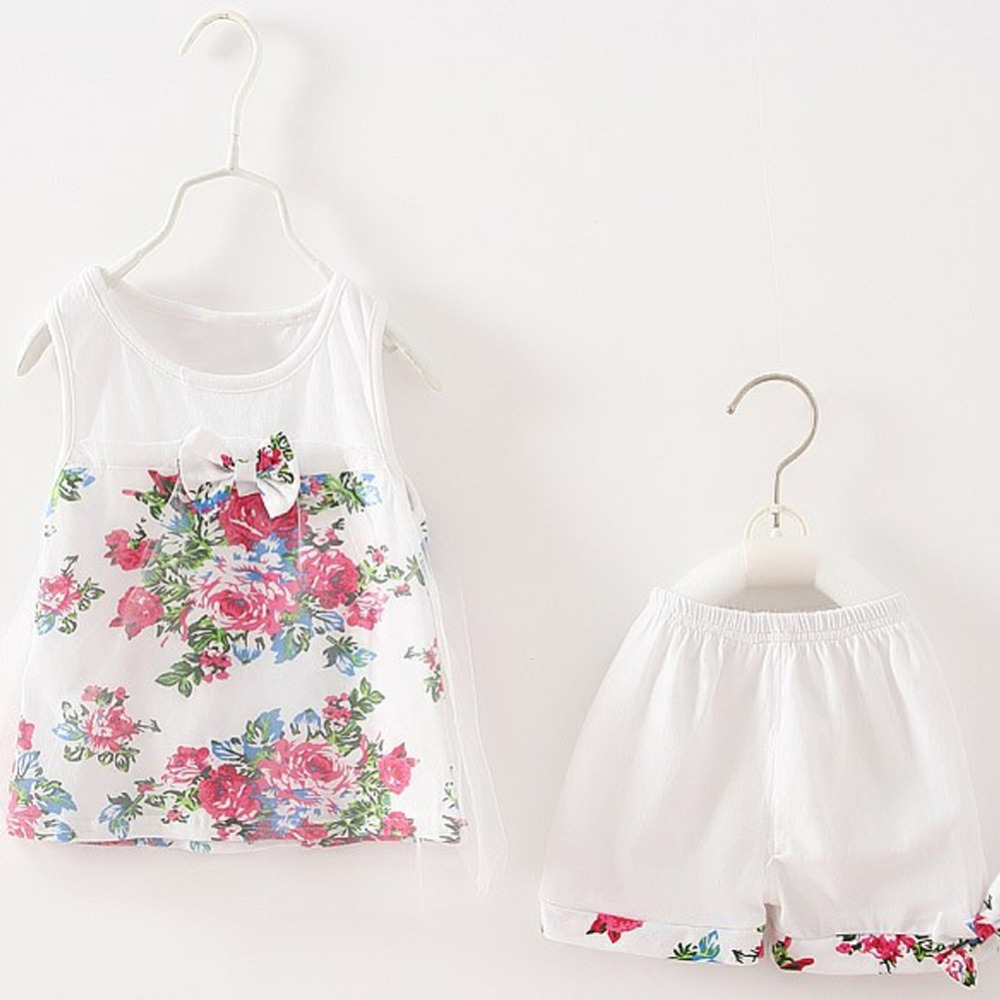 2Pcs Candy child ladies clothes units Flower Cotton Mesh kids lace floral bow-knot Sleeveless Vest +Shorts clothes go well with Clothes Units, Low cost Clothes Units, 2Pcs Candy child...