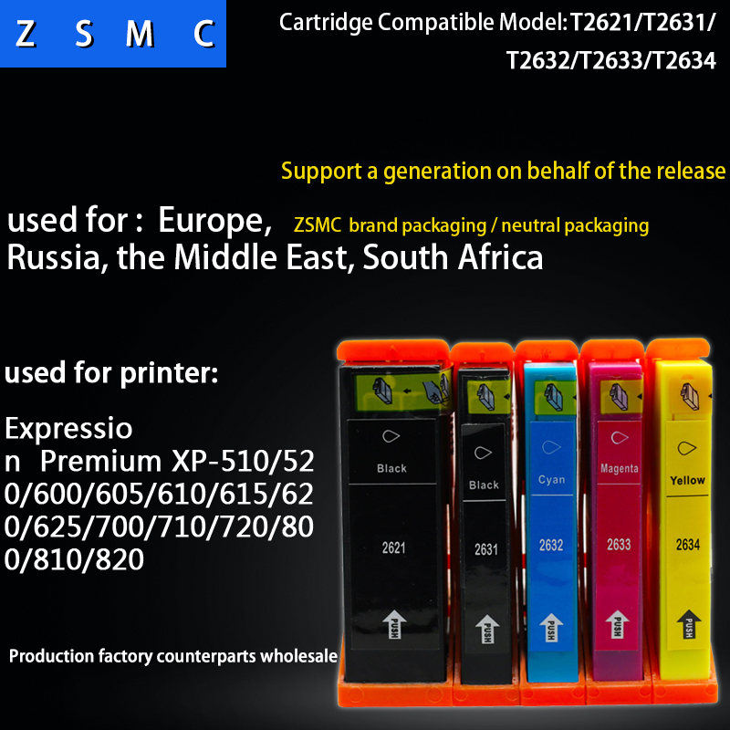 5pcs Compatible <font><b>epson</b></font> 26XL t2621 t2631 ink cartridge for <font><b>XP</b></font>-510/520/600/605/<font><b>610</b></font>/615/620/625/700/710 printer image