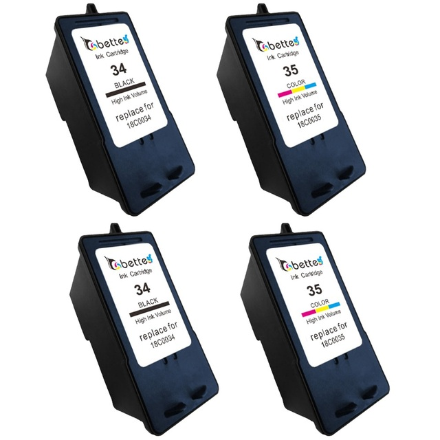 4PK2 Black 2 Color Ink Cartridges For Lexmark 34 35 18C0034