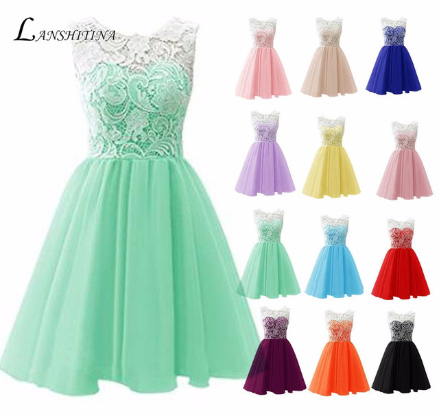 Custom and wholesale Scoop lace and tulle Evening Gowns a ling short ...