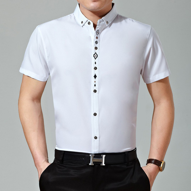 4c9490a7cf9f New Summer Men Office Embroidery Designs Solid Color Short Sleeve Dress  Shirt
