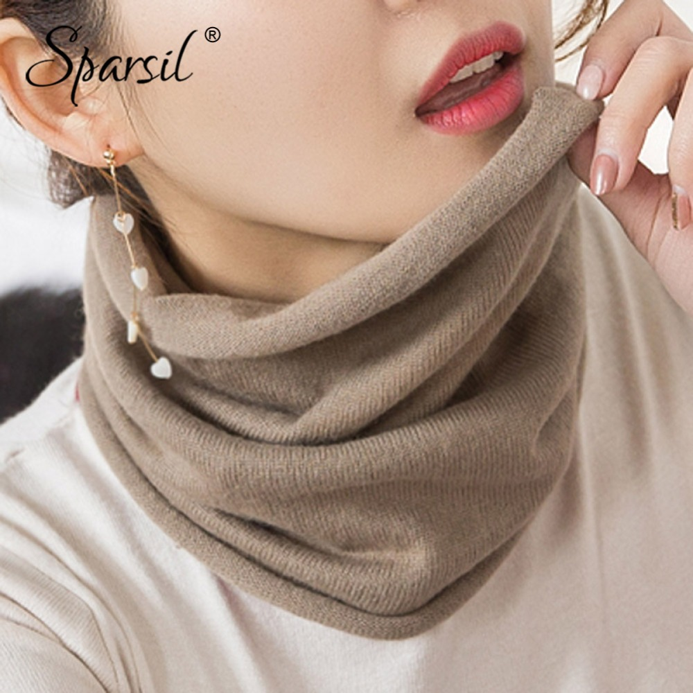 Sparsil Women Mink Cashmere Ring Scarves Soft Comfort Single Loop Neck Warmer Female Autumn Winter Solid Color Wool Collar Scarf
