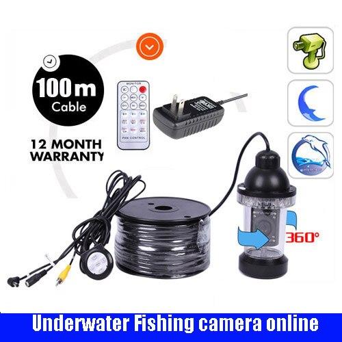 100M Infrared IR Fishing Camera Underwater Video Camera System LED Lights Fish Finder 360 Degree Rotating Fishing Video Camera EYOYO