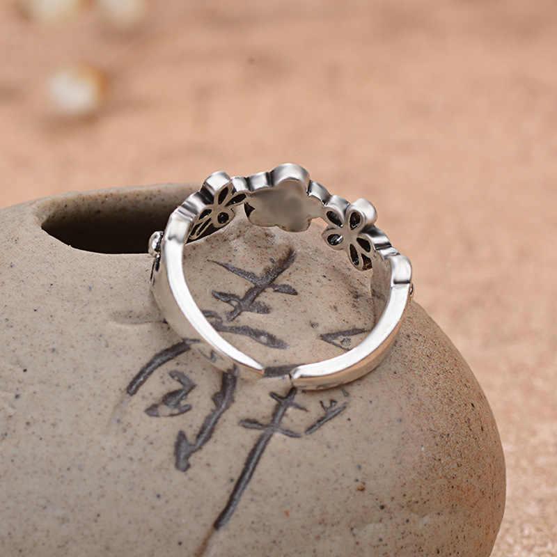 בוהמי בציר 925 סטרלינג כסף פרח טבעות לנשים אופנה תכשיטי הצהרת מתכוונן אצבע טבעת בנות מתנות