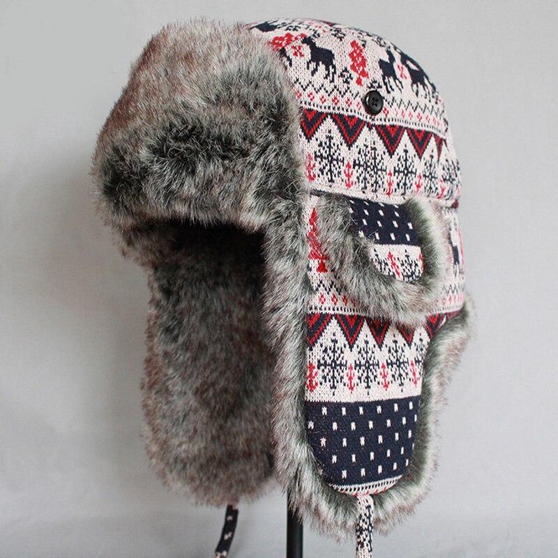 5bd3222fafc ZDFURS Men Women Bomber Hat Winter Warm Faux Fur Snow Caps Woolen Knitted  Thicken Earflaps Russian Ushanka Trapper Hats
