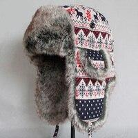 ZDFURS*Men Women Bomber Hat Winter Warm Faux Fur Snow Caps Woolen Knitted Thicken Earflaps Russian Ushanka Trapper Hats