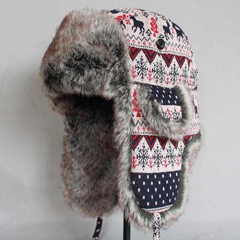 ZDFURS   Uomo Donna Bomber Cappello di Inverno Caldo della Pelliccia Del  Faux Tappi di Neve di Lana Lavorato A Maglia Addensare Paraorecchie  Colbacco ... 238253bdee2c