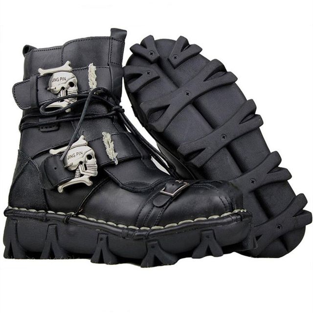 Men's Cowhide Genuine Leather Work Boots Military Combat Boots Gothic Skull Punk Motorcycle Martin Boots 3