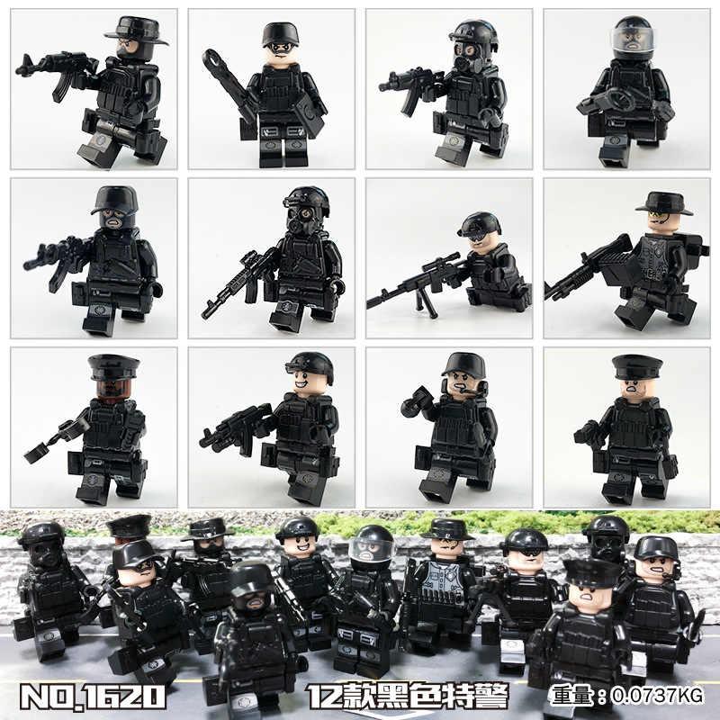 12 шт./компл. военный спецназ Солдат кирпичики фигурки-пистолеты Книги об оружии Совместимость вооруженных спецназ строительные блоки Ww2 игрушки