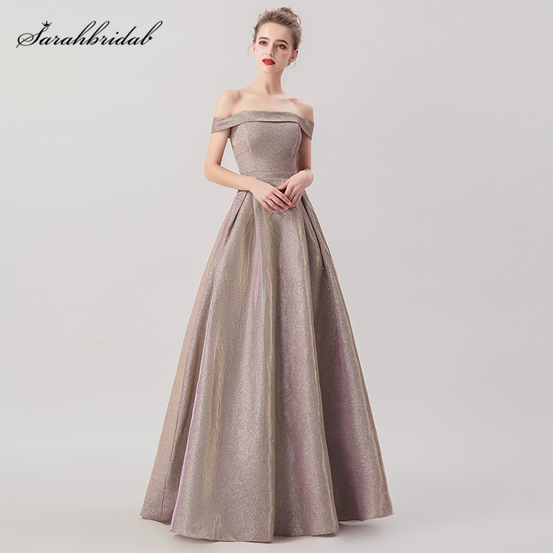 2019 New Arrivals A Line   Prom     Dresses   Actual Purple Grey Boat Neck Image   Prom   Gowns Real Photos Sexy Robe De Soiree WT5276
