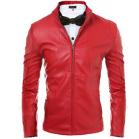 2017 Mens Motorcycle Suede Jacket Solid Style Red Black Faux Leather Jackets Men Korean Slim Fit Male Coat