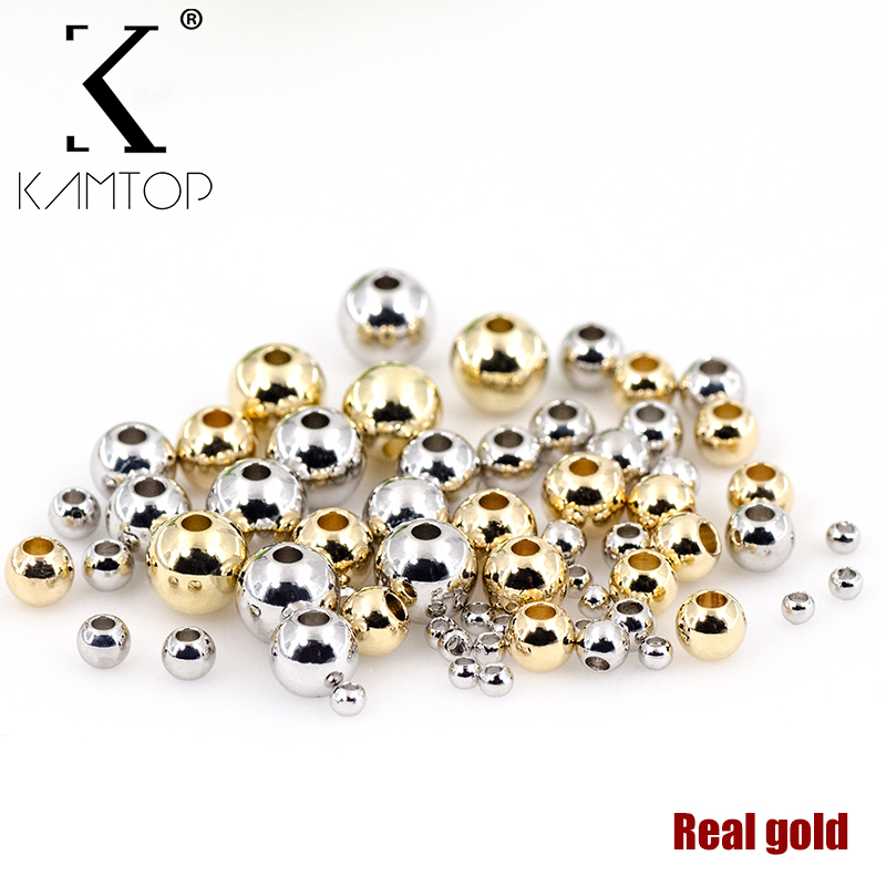 Kamtop Copper Plated Gold Ring Beads Ball 2/3/4/5/6 Mm Metal Round Loose Beads Jewelry Bracelet Diy Accessories Findings Jewelry & Accessories Beads & Jewelry Making