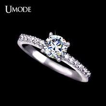 Umode белый позолоченный проложить группа обручальное кольцо для женщин с 0.6 см 0.75ct швейцарский цирконий новое обручальное кольцо UR0031