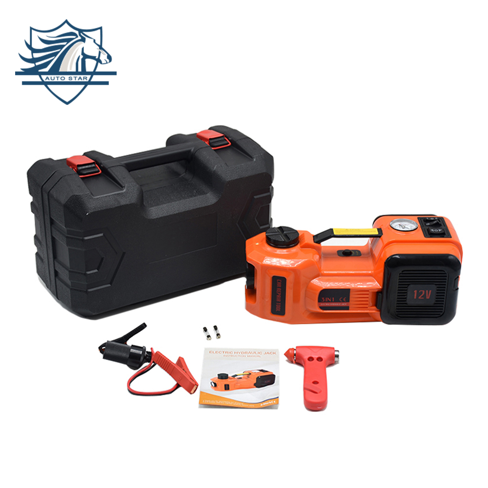 12V 5Ton Car Jack Tire Jack Electric Hydraulic Jack Lifting Jack Auto Lift Car Lift Tire Inflator Flashlight Safe Hammer 3 In 1