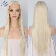 BeautyTown Hand Gebonden Licht Blond Kleur Lange Rechte Lijmloze Hittebestendige Haar Vrouwen Makeup Wedding Synthetische Lace Front Pruiken