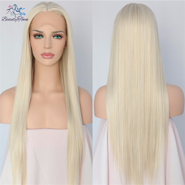 BeautyTown atado a mano Color rubio claro largo recto sin pegamento resistente al calor mujeres maquillaje boda sintético encaje frente pelucas
