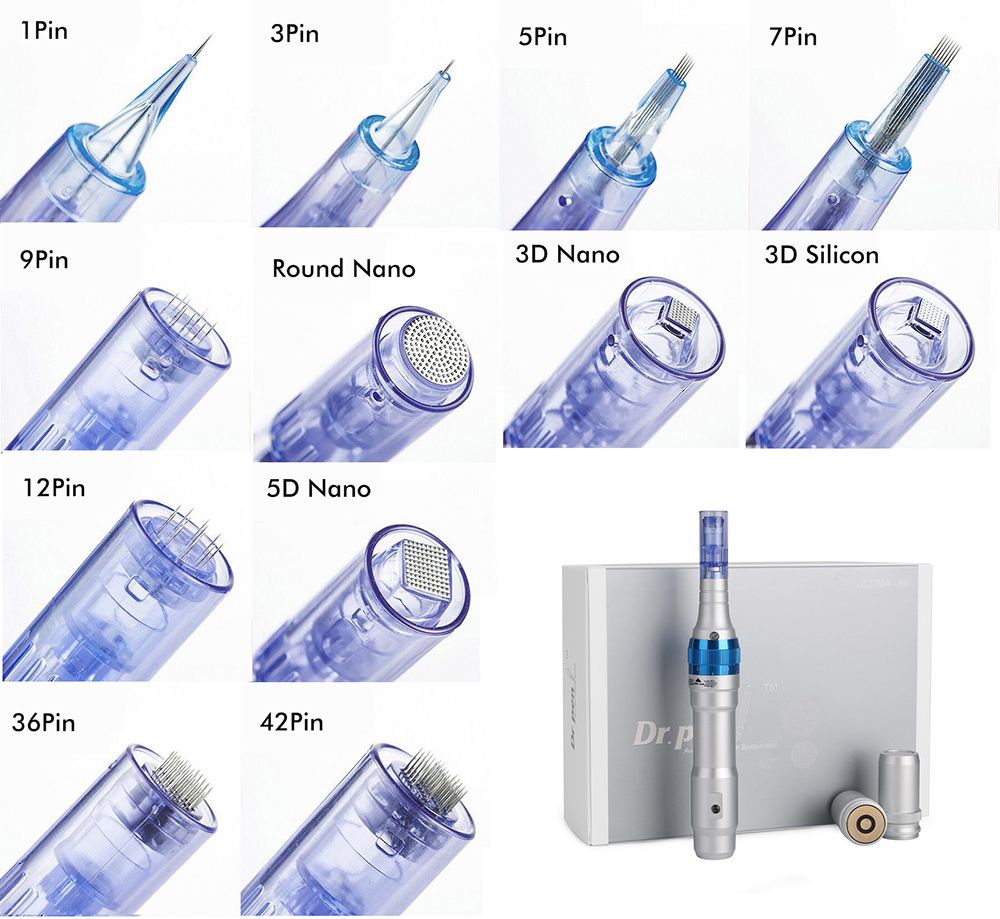 20pcs/lot, Dr Pen A6 1 3 5 7 9 12 36 42 Pins Nano Needle Cartridge For MYM Electric Derma Pen Auto Microneedles