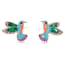 2019 Fashion Rhinestone Bird/Snake Stud Earrings For Women Female Personality Colorful Animal Earing Jewelry