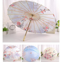 Chinese Japanese Oil Paper Umbrella Parasol Dancing Umbrellas Wooden Handle Craft Women's Umbrella for Wedding Decoration(China)