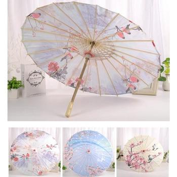 Chinese Japanese Oil Paper Umbrella Parasol Dancing Umbrellas Wooden Handle Craft Women's Umbrella for Wedding Decoration декоративный зонтик paper umbrella