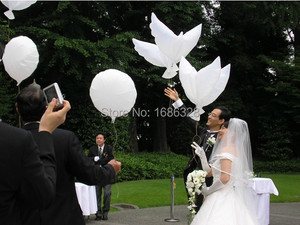 10pcs/lot White Pigeon Helium Balloon Eco Flying Dove Balloon Wedding Party Decoration Wedding Balo Inflatable Air Balloons(China)