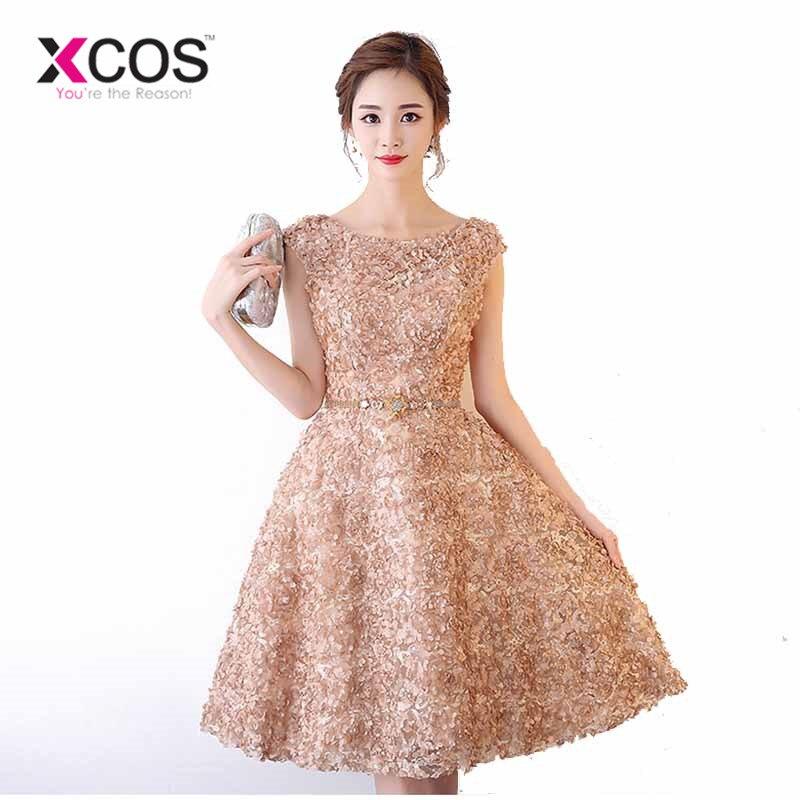 XCOS Champagne Pink Blue Short Homecoming Dress Vestidos De Graduacion Belt Mini Above Knee Cocktail Party Dresses