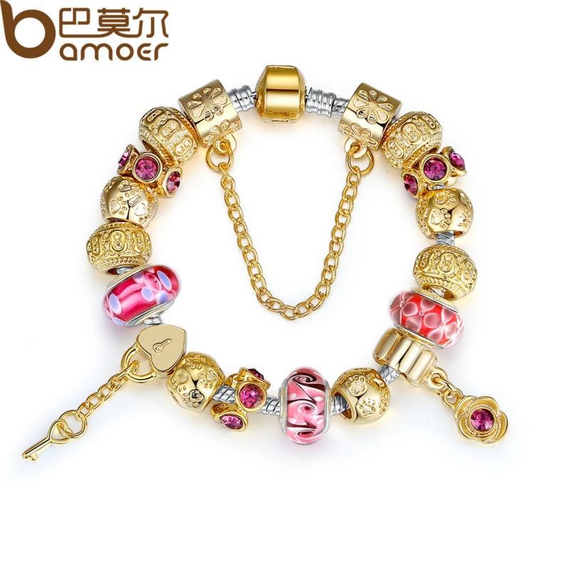 Bamoer alta calidad charm pulsera para mujeres con cristal de Murano exquisito Cuentas DIY Regalo de Cumpleaños pa1804
