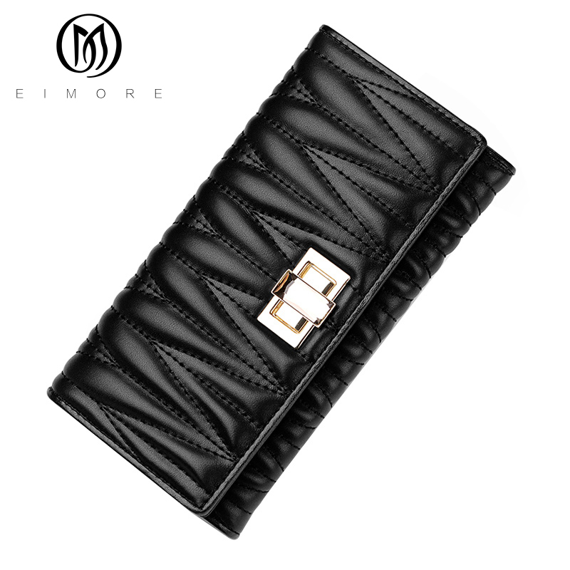 ФОТО EIMORE Womens Wallets and Purses Genuine Leather Vintage High Quality 2017 Cell phone Card Holder Long Lady Wallet Clutch Purse