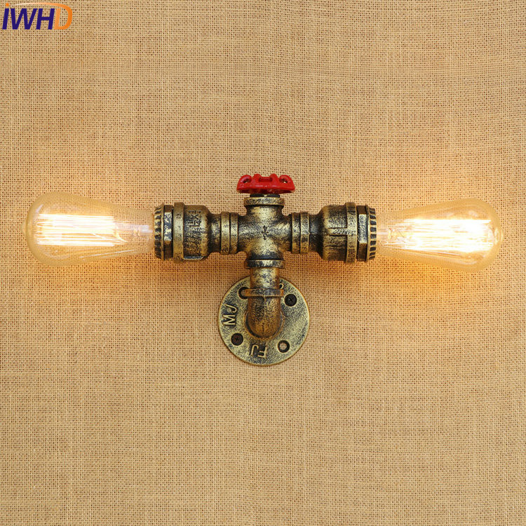 IWHD Antique Water Pipe Wall Lamp Vintage Wandlamp Loft Industrial Wall Light Fixtures LED Stair Light Appliques Pared Murale black simple modern led wall lamp balcony bedroom aisle stair light fixtures wall sconces wandlamp appliques lampara pared