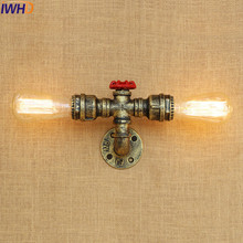 IWHD Antique Water Pipe Wall Lamp Vintage Wandlamp Loft Industrial Wall Light Fixtures LED Stair Light Appliques Pared Murale iwhd antique rustic vintage wall lamp bedroom mirror stair glass loft decor industrial retro wall light fixtures wandlamp edison