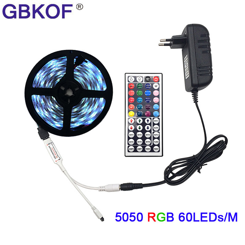 SMD5050 RGB LED Strip Light 5M 10M 60Leds/m 30LEDs/M DC 12V tape ribbon diode flexible waterproof 44keys Controller adapter set 10m 5m 3528 5050 rgb led strip light non waterproof led light 10m flexible rgb diode led tape set remote control power adapter