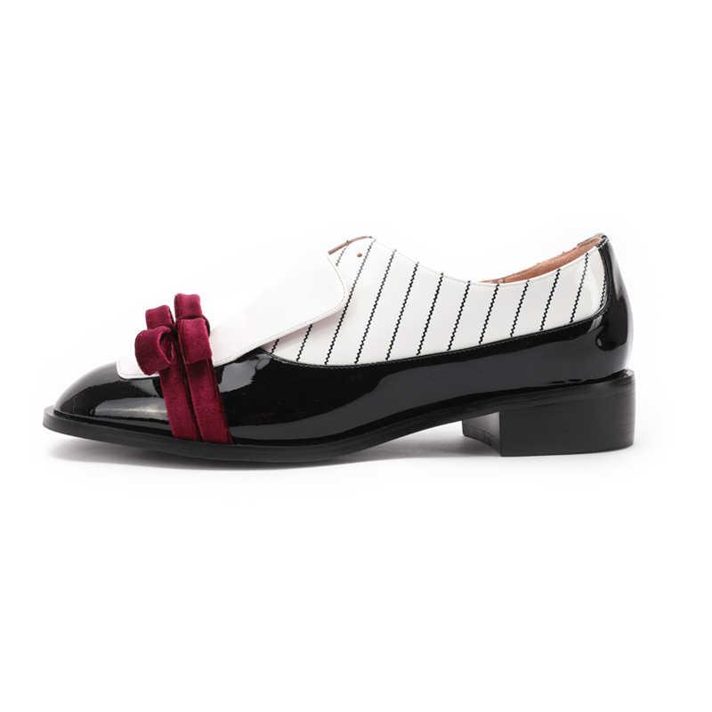 Yüksek Kaliteli Kadın Oxford Flats Karışık Renkler rahat ayakkabılar Kadın Hakiki Deri ilmek Slip-on Yuvarlak Sarmaşık Brogue loafer'lar