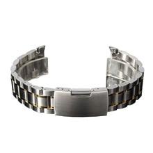 YCYS-18mm Venda de Reloj de Pulsera de Acero Inoxidable Correa de Botón de Empuje Lateral Hebilla de Oro y Plata
