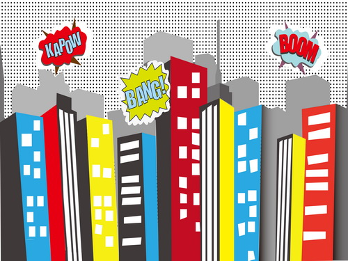 Bomb City High Building with Cool Cloud Backgrounds Vinyl cloth High quality Computer printed newborns backdrop